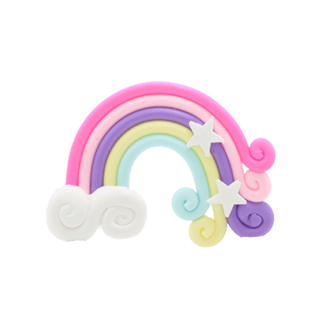 A pink, yellow and purple rainbow charm with two white stars and a cloud