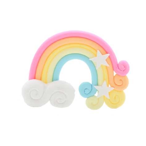 A pink, yellow and blue rainbow charm with two white stars and a cloud