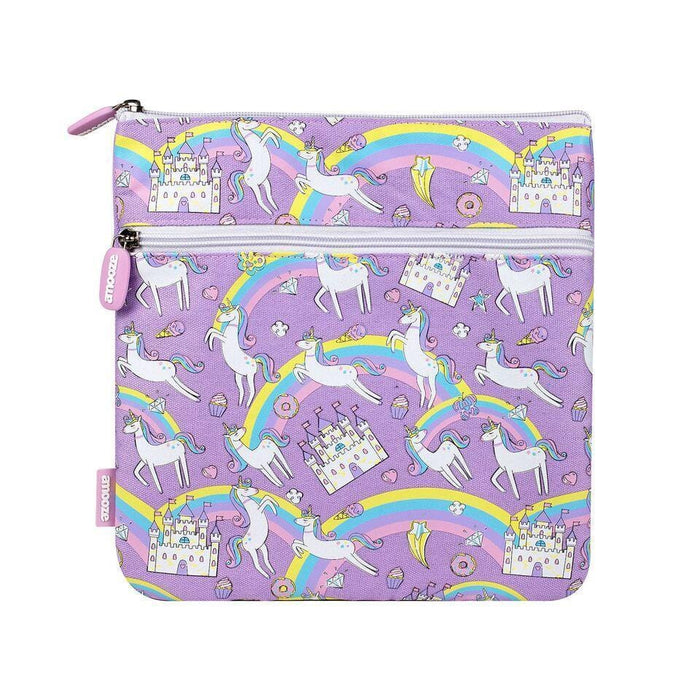 Squared purple unicorn pencil case with a pattern of rainbows, unicorns and castles