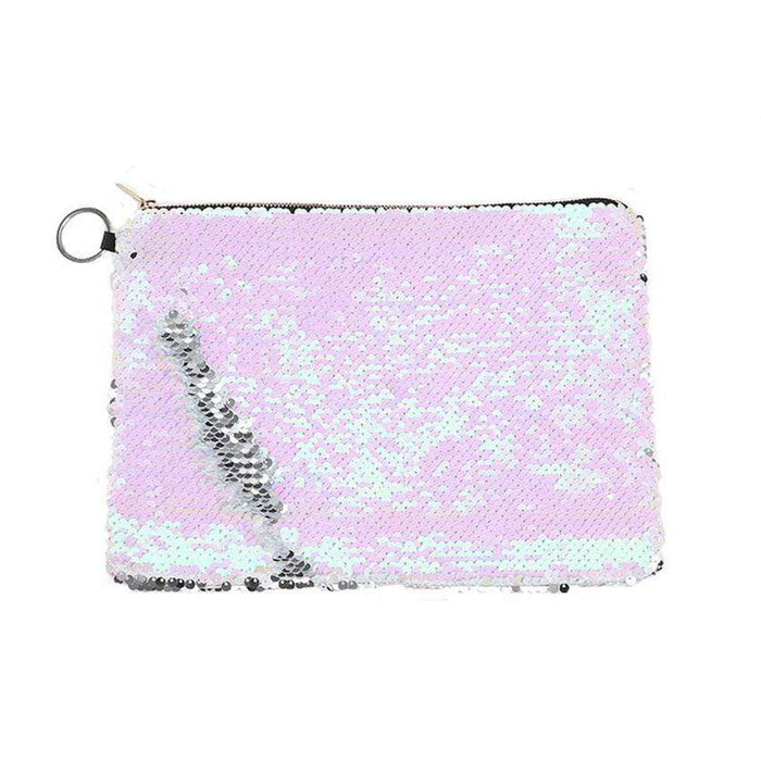 A rectangular white and pink iridescent sequined bag