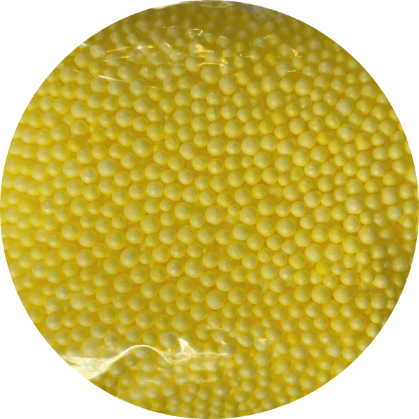 Several yellow foam beads