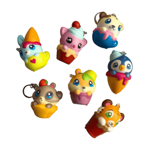 Seven animal squishy keychains displaying different animals and colours