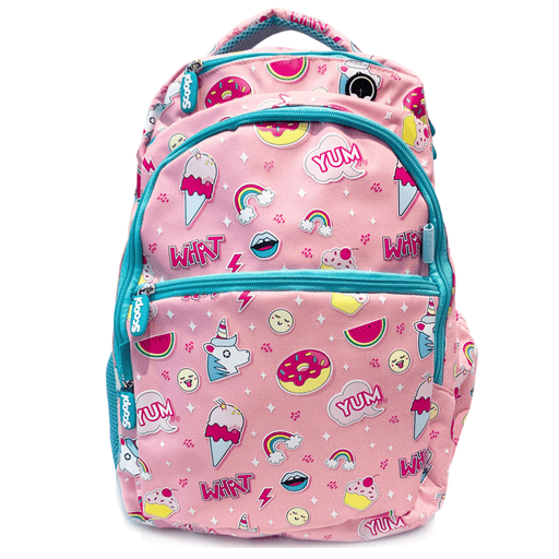 Pink backpack with blue zippers with unicorns, rainbows, ice creams, donuts and other sketches as pattern