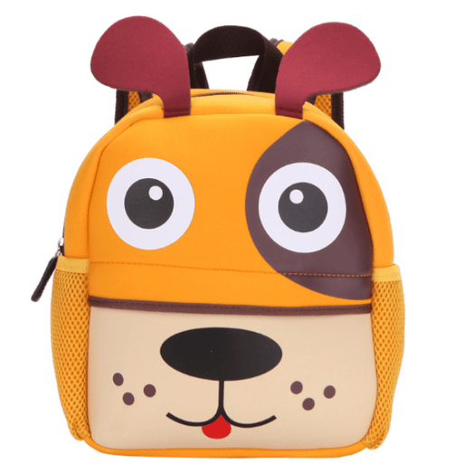 Orange backpack with the shape of a dog head with brown ears, has a front bag and 2 lateral bags on each side