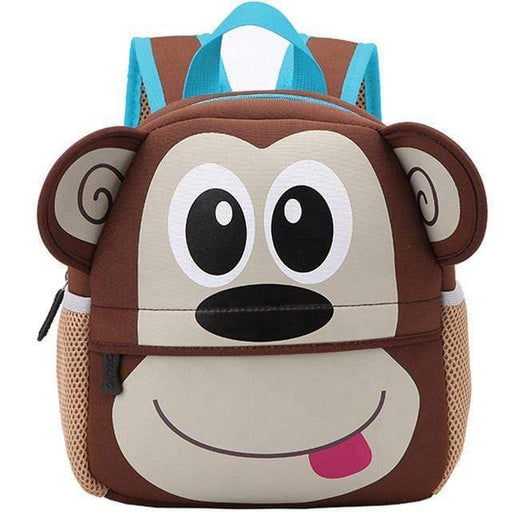 Brown backpack with the shape of a monkey head, has a front bag and 2 lateral bags on each side