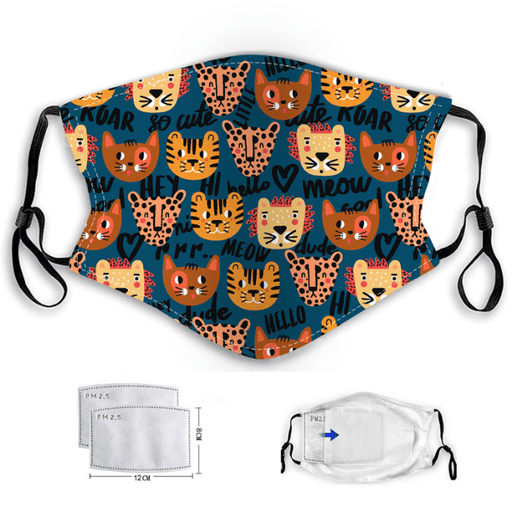 Children's face mask with a tiger and lion pattern