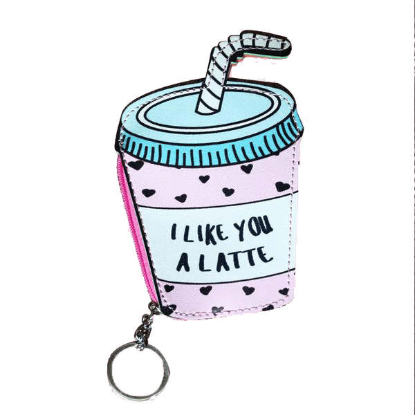 A pink wallet with the shape of a coffee cup with a blue straw