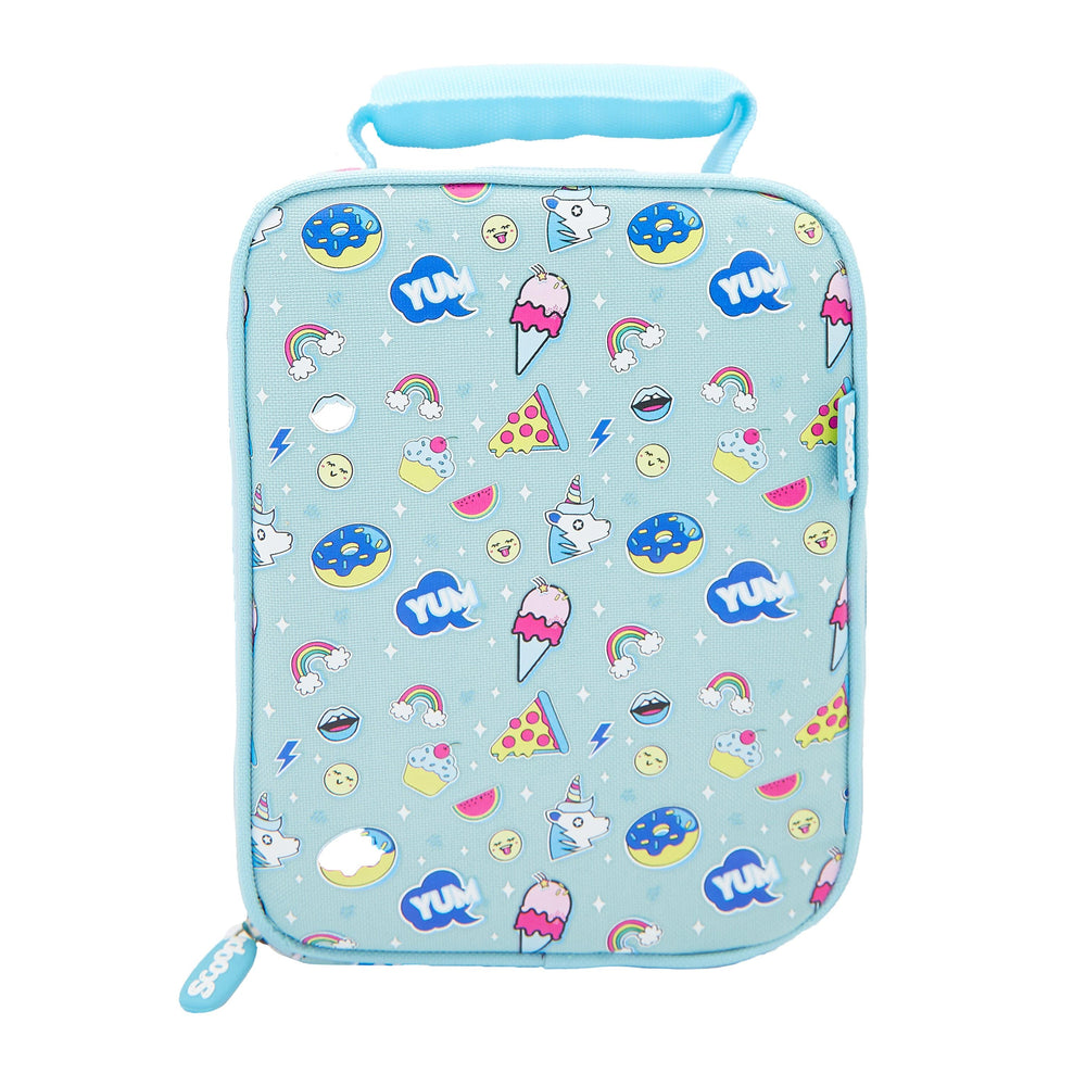 Rectangular mint coloured lunch bag with a pattern of ice creams, unicorns and donuts.