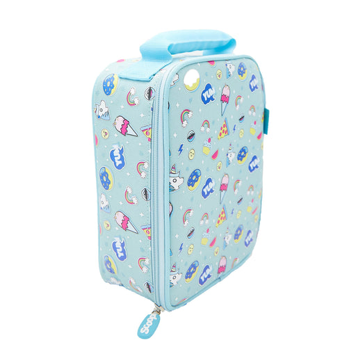Rectangular mint coloured lunch bag with a pattern of ice creams, unicorns and donuts. Viewed from the side