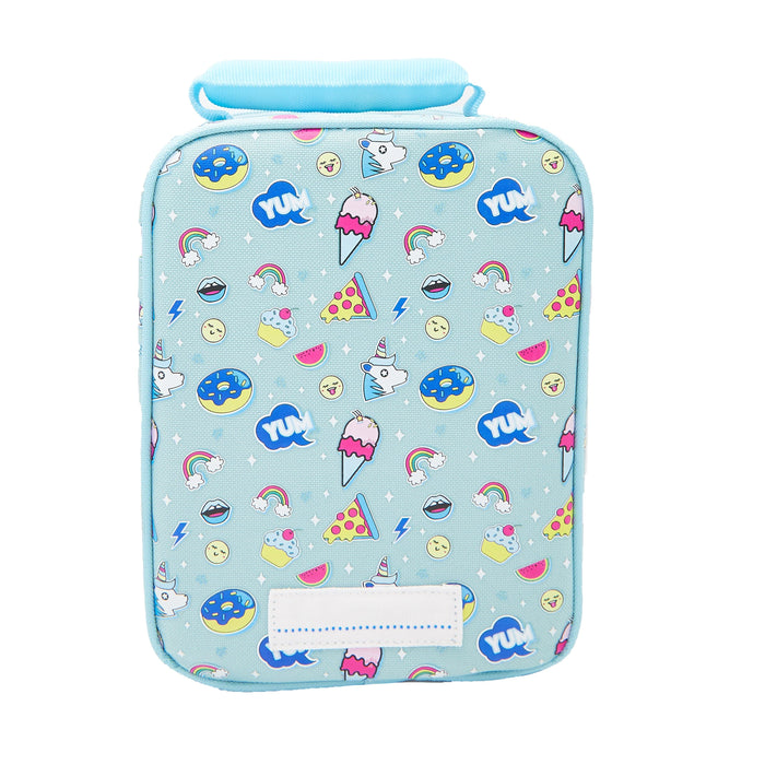 Rectangular mint coloured lunch bag with a pattern of ice creams, unicorns and donuts. Viewed from the back