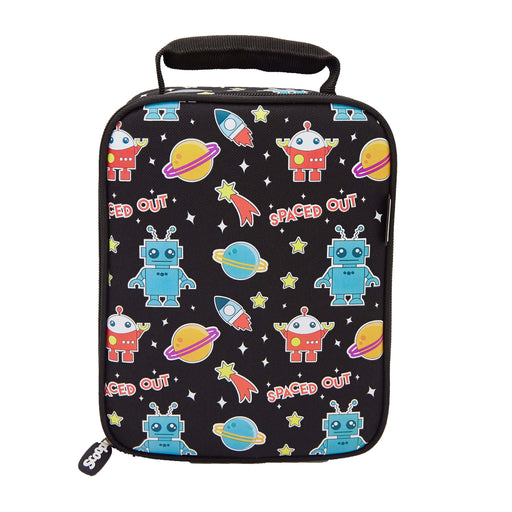 Rectangular black lunch bag with a pattern of robots, planets, rocket ships and stars.