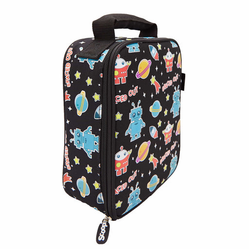 Rectangular black lunch bag with a pattern of robots, planets, rocket ships and stars. View from a side