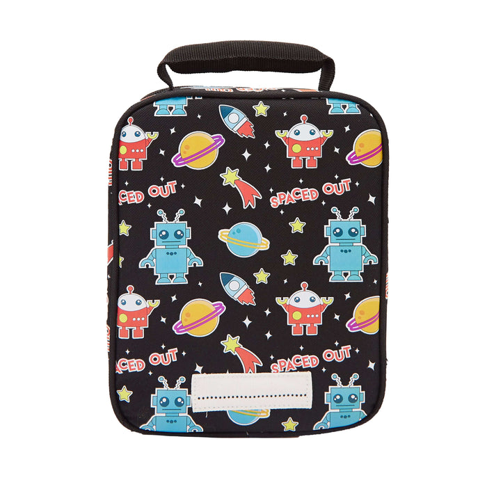Rectangular black lunch bag with a pattern of robots, planets, rocket ships and stars. View from the back.