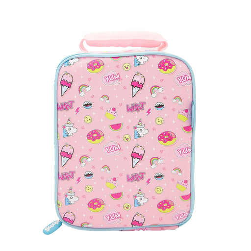 Rectangular pink backpack with a pattern of ice creams, donuts and unicorns.