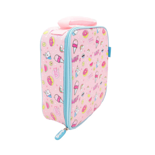 Rectangular pink backpack with a pattern of ice creams, donuts and unicorns. Viewed from a side
