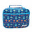 Rectangular blue lunch bag with a pattern of robots, planets, space ships and stars.