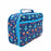 Rectangular blue lunch bag with a pattern of robots, planets, space ships and stars. Viewed from the side.