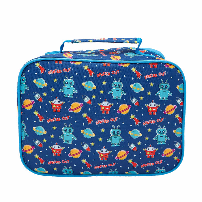 Rectangular blue lunch bag with a pattern of robots, planets, space ships and stars. Viewed from the back
