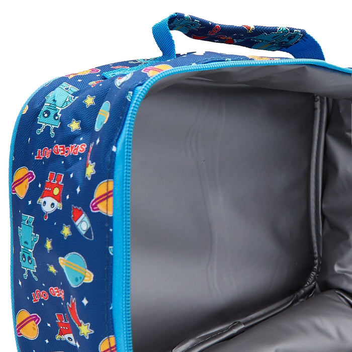 The insulated inside of the alien invasion lunch bag