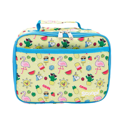 Rectangular pale yellow lunch bag with a summer pattern of flamingos, cactus, popsicles and unicorns