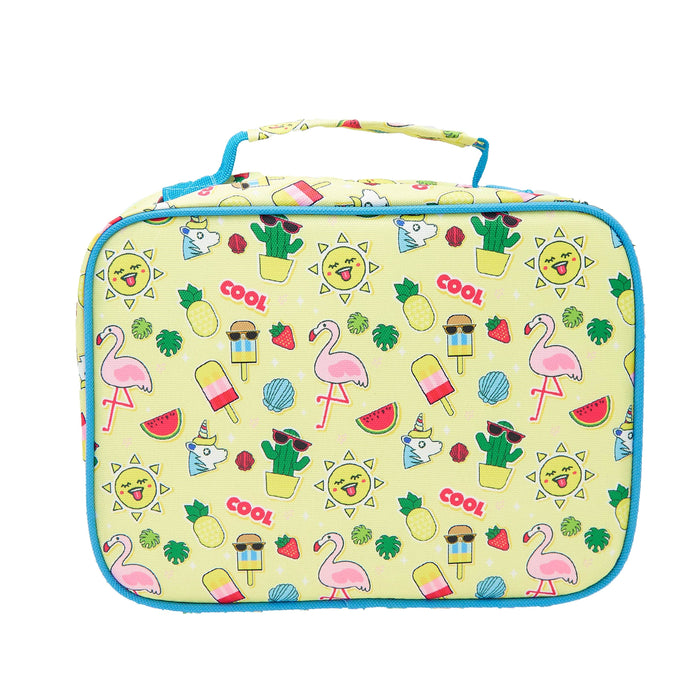 Rectangular pale yellow lunch bag with a summer pattern of flamingos, cactus, popsicles and unicorns. Viewed from the back.