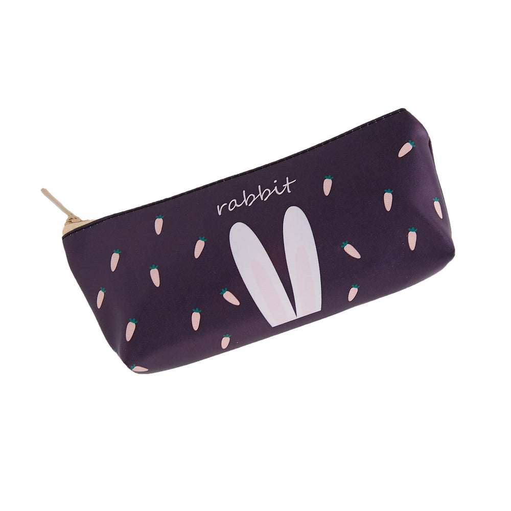 A rectangular black pencil case with white bunny ears, the word rabbit and carrots in the background as decor