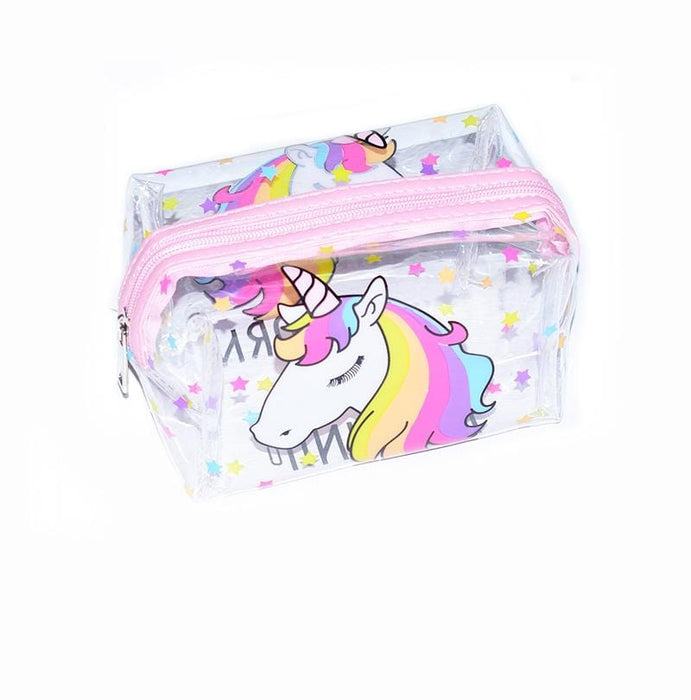 A transparent cosmetic bag with pink zipper, multicoloured stars and a white unicorn with multicoloured hair