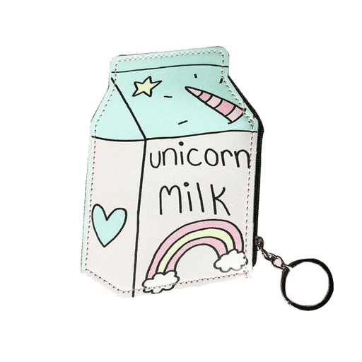 A wallet with the shape of a milk box with the words unicorn milk, a rainbow and other doodles
