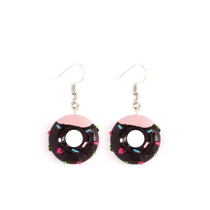 A pair of donut earrings with pink and brown and multicoloured sprinkles