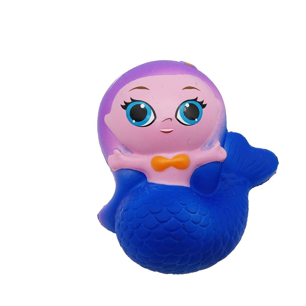 A pink mermaid squishy with blue tail and eyes, purple hair and an orange bow tie
