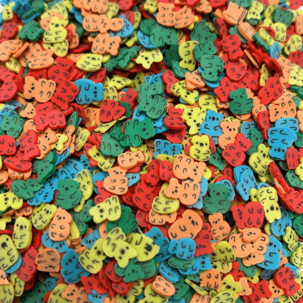 A mix of red, orange, yellow, green and blue bear sprinkles