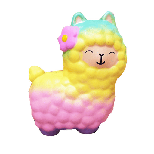 A gradient turquoise, yellow, pink and purple alpaca squishy with a pink flower on its right ear