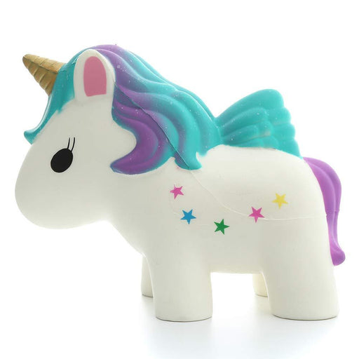 A white unicorn squishy with gradient purple to turquoise hair, purple tail and multicolour stars on its side.