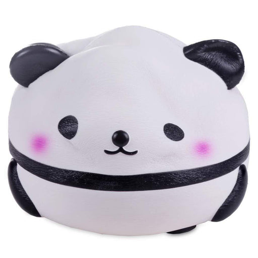 A round panda squishy squeezed from the top
