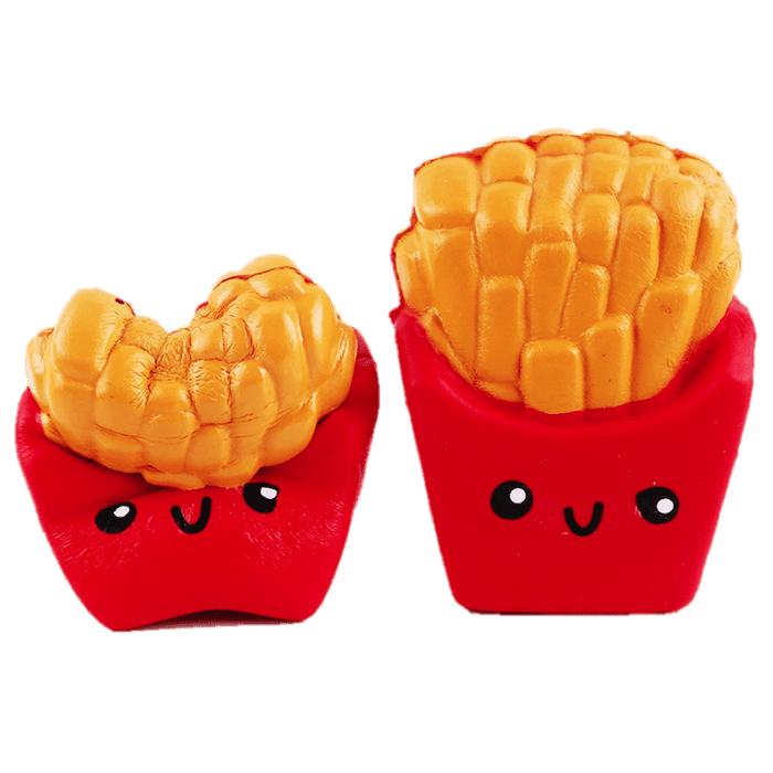 Two red bags of fries with happy faces squishies. One is squished by the middle
