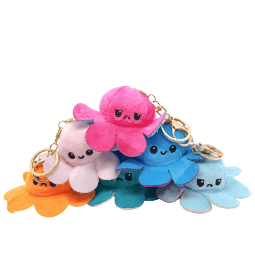 All colours of reversible octopus plush keychains.