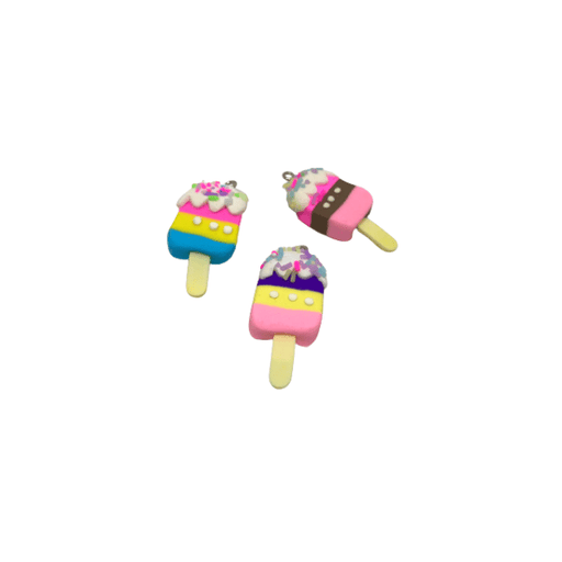 3 multicolour popsicle charms with hooks.