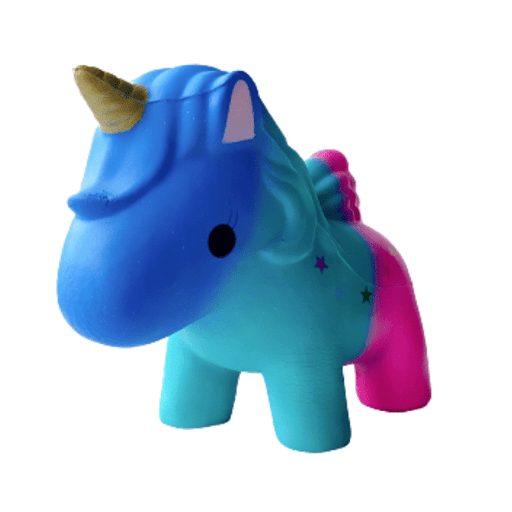 A gradient blue to pink unicorn squishy with multicoloured stars and purple tail