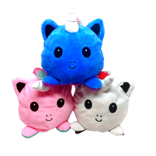 Three reversible unicorns toys.