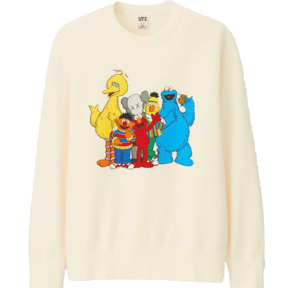 KAWS x Uniqlo x Sesame Street Group Sweatshirt Natural | Hype Vault Malaysia