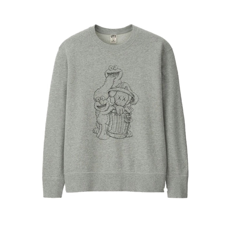 KAWS x Uniqlo x Sesame Street Companion Trash Can Outline Sweatshirt Grey | Hype Vault Malaysia