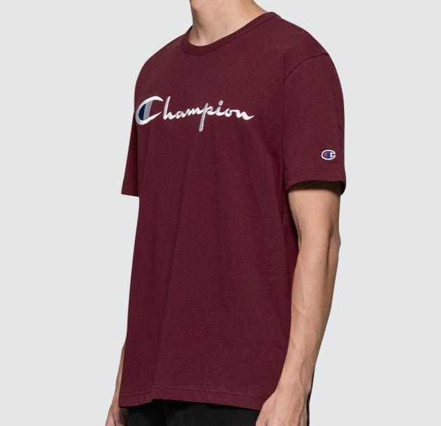 Champion Embroidered Big Script T-Shirt Burgundy | Hype Vault Malaysia