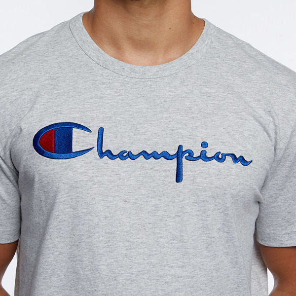 Champion Embroidered Big Script T-Shirt Grey - Hype Vault Malaysia