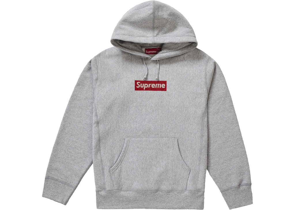Supreme Swarovski Box Logo Hooded Sweatshirt Grey