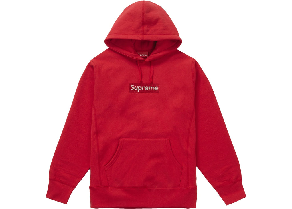 Supreme Swarovski Box Logo Hooded Sweatshirt Red - Hype Vault Malaysia