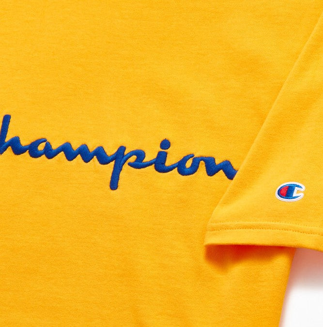 Champion Embroidered Big Script T-Shirt Yellow - Hype Vault