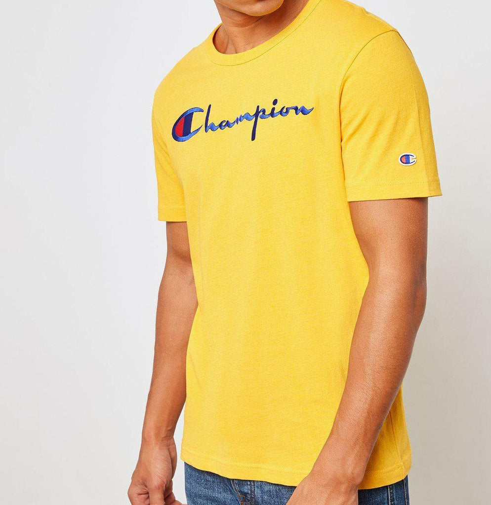 Champion Embroidered Big Script T-Shirt Yellow