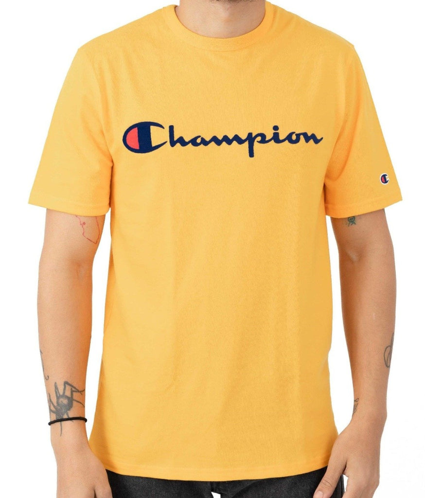 Champion Embroidered Big Script T-Shirt Yellow - Hype Vault Malaysia