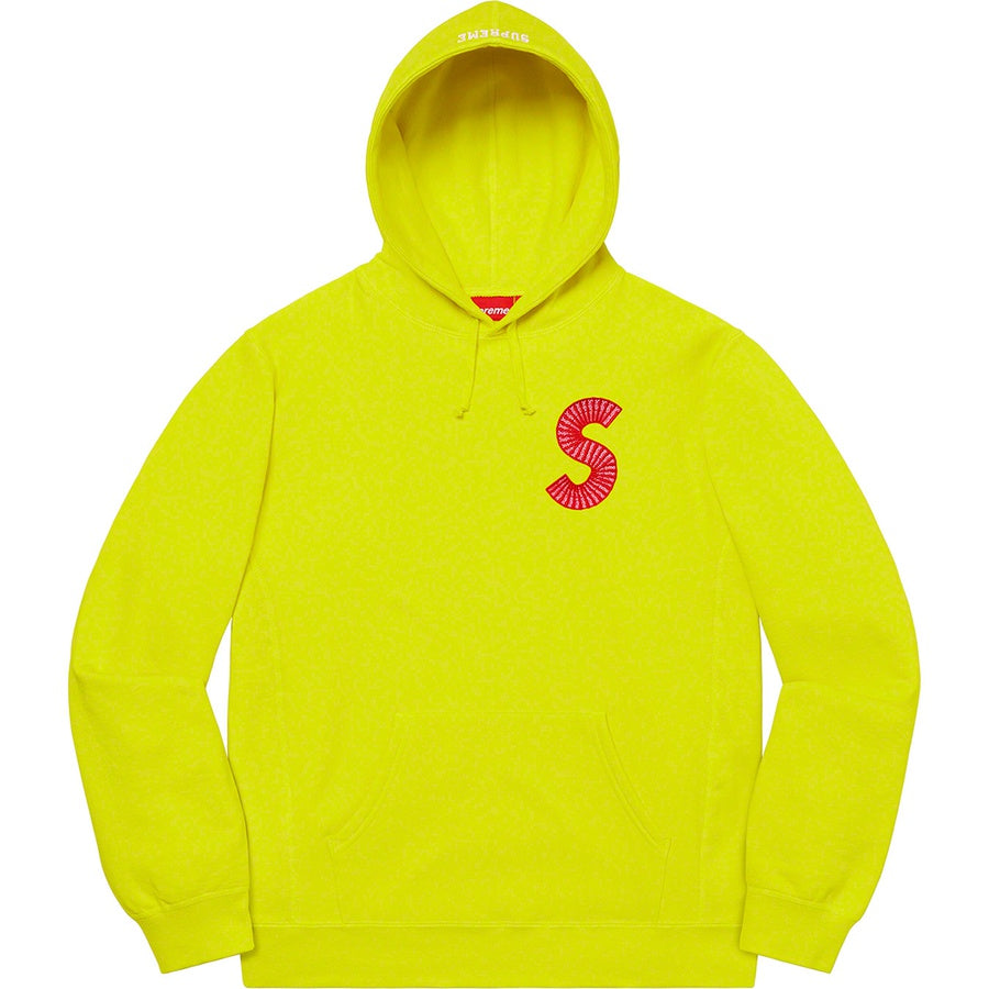 Supreme S Logo Hooded Sweatshirt Acid Green FW20 | Hype Vault Malaysia
