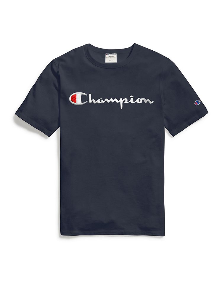Champion Embroidered Big Script T-Shirt Navy - Hype Vault Malaysia